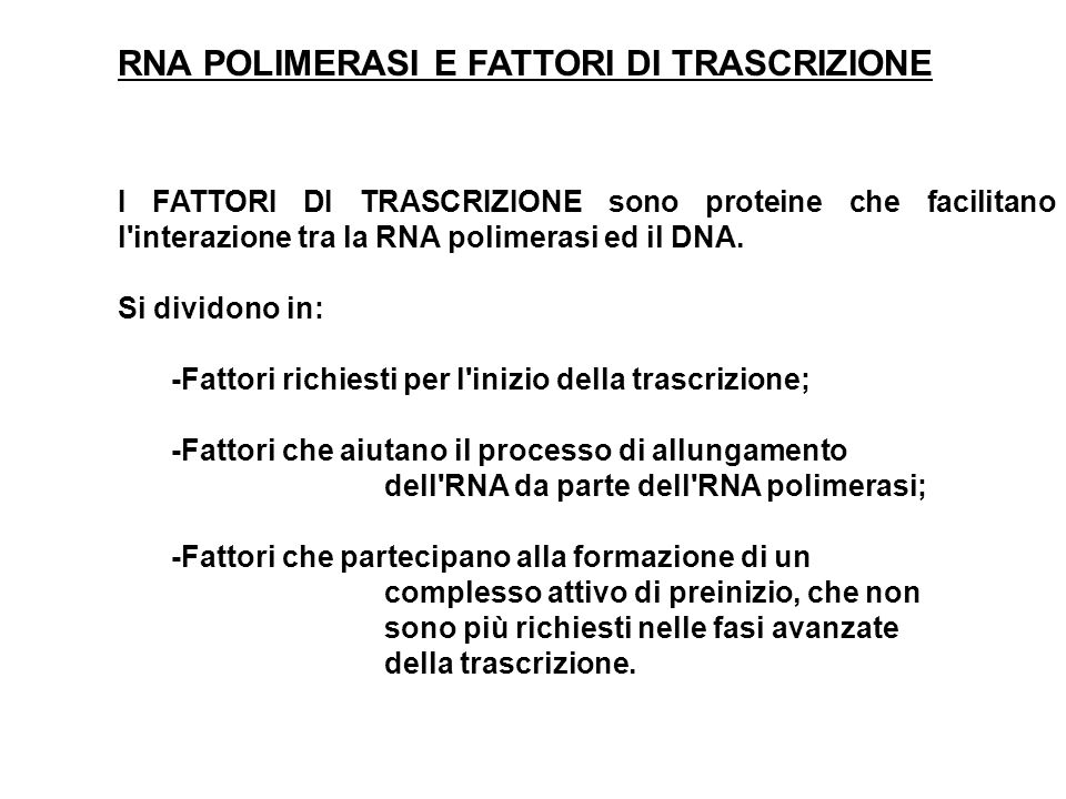 RNA POLIMERASI E FATTORI DI TRASCRIZIONE