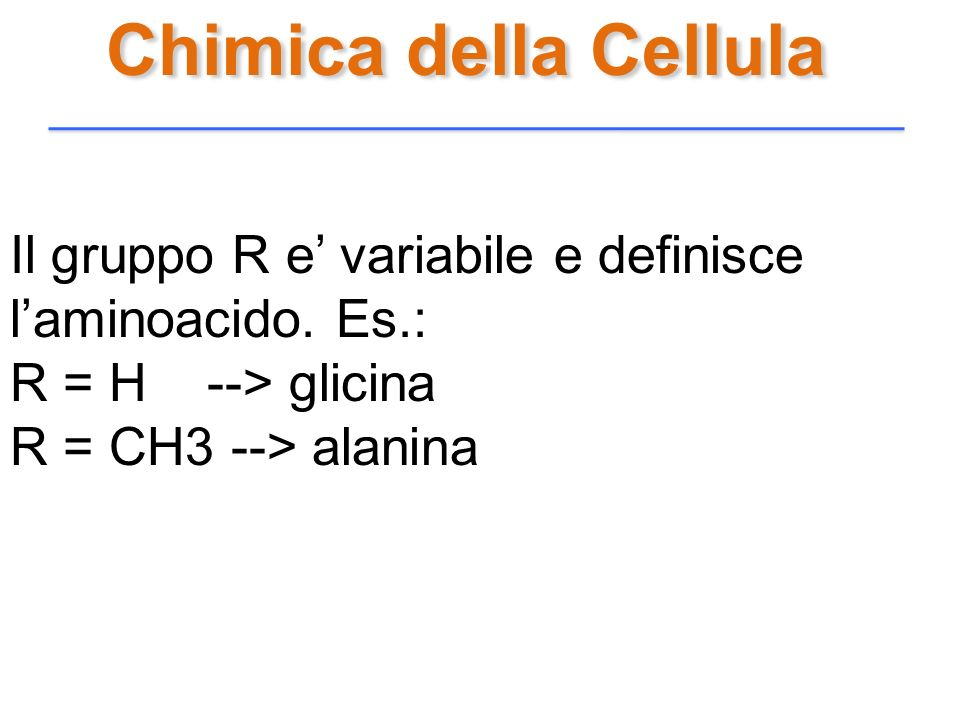 Chimica della Cellula Il gruppo R e' variabile e definisce l'aminoacido. Es.: R = H --> glicina.