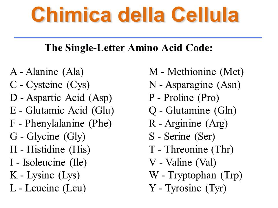 Chimica della Cellula The Single-Letter Amino Acid Code: