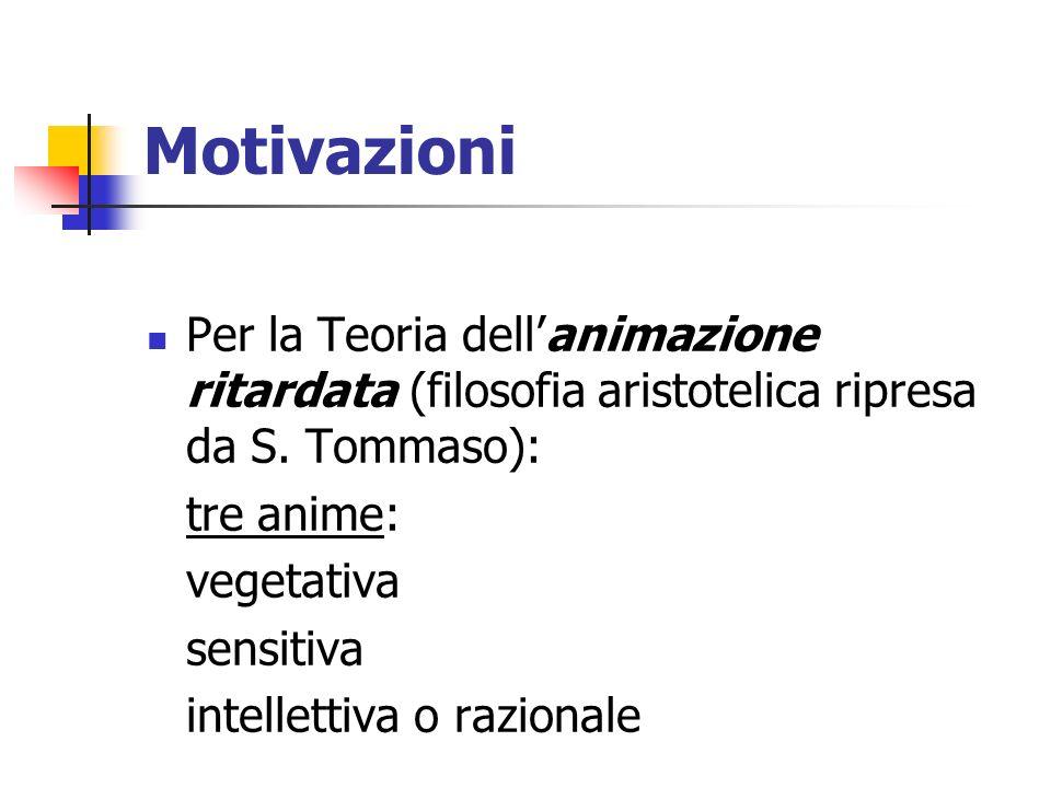 Motivazioni Per la Teoria dell'animazione ritardata (filosofia aristotelica ripresa da S. Tommaso):