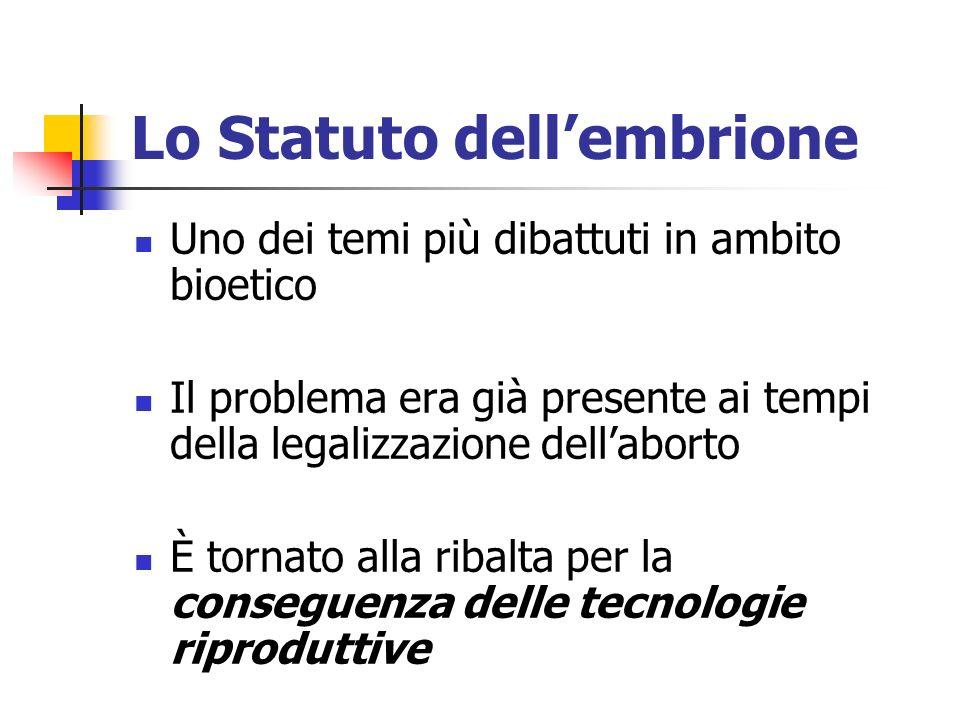 Lo Statuto dell'embrione