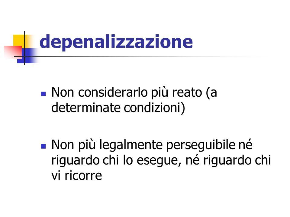 depenalizzazione Non considerarlo più reato (a determinate condizioni)