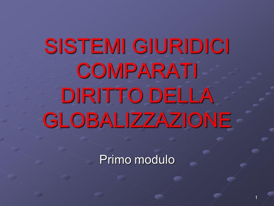 SISTEMI GIURIDICI COMPARATI DIRITTO DELLA GLOBALIZZAZIONE