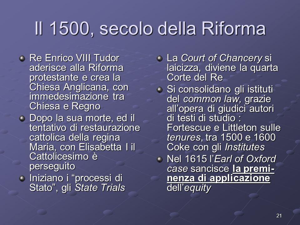 Il 1500, secolo della Riforma