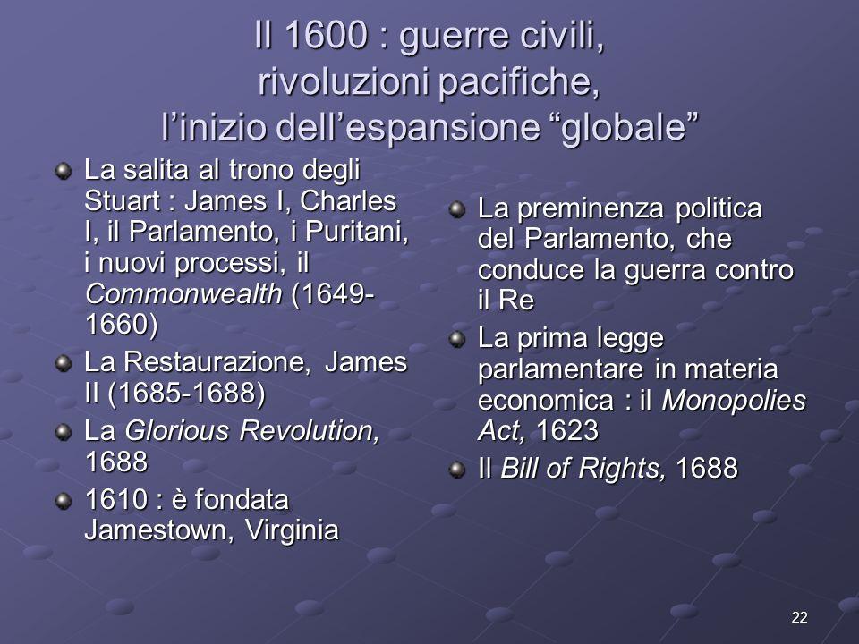 Il 1600 : guerre civili, rivoluzioni pacifiche, l'inizio dell'espansione globale