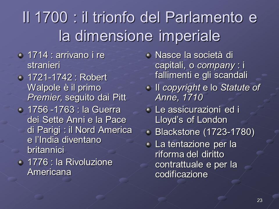 Il 1700 : il trionfo del Parlamento e la dimensione imperiale
