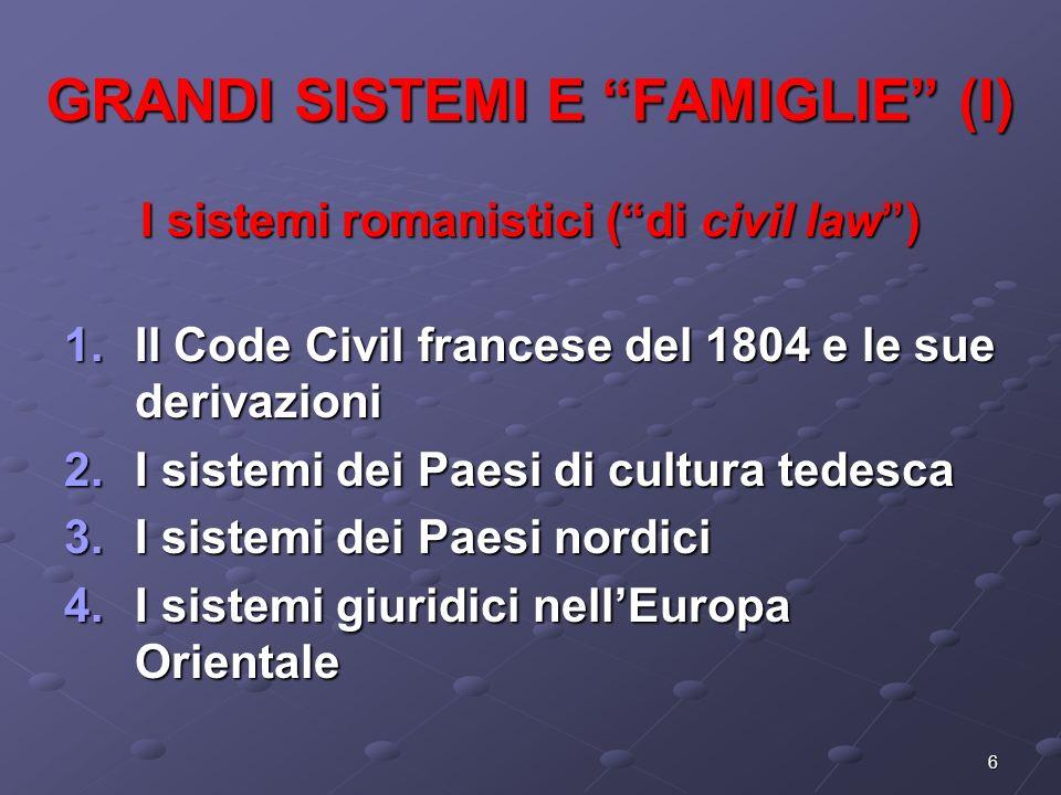GRANDI SISTEMI E FAMIGLIE (I)