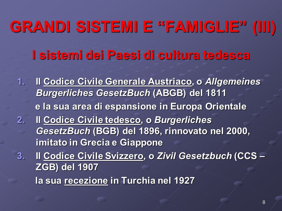 GRANDI SISTEMI E FAMIGLIE (III)