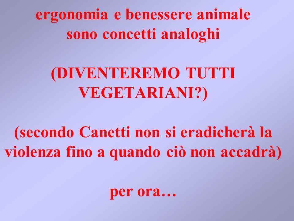 ergonomia e benessere animale sono concetti analoghi (DIVENTEREMO TUTTI VEGETARIANI ) (secondo Canetti non si eradicherà la violenza fino a quando ciò non accadrà) per ora…