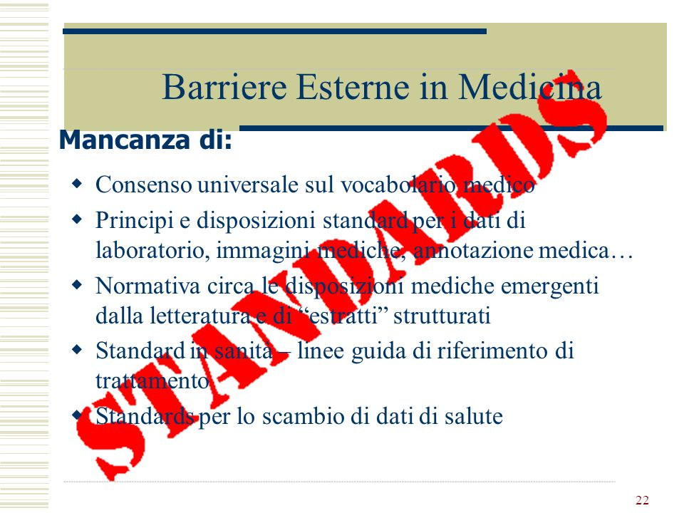 Barriere Esterne in Medicina