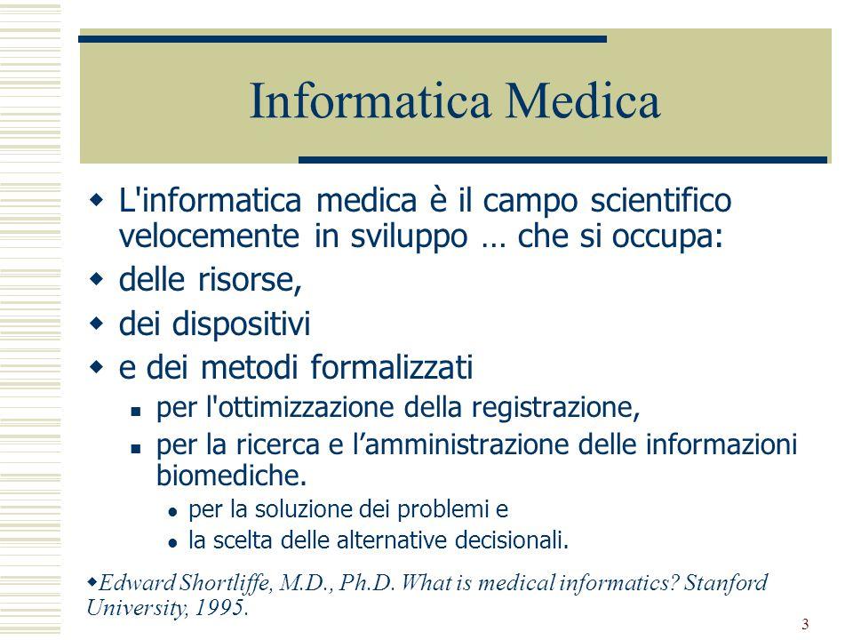 Informatica Medica L informatica medica è il campo scientifico velocemente in sviluppo … che si occupa: