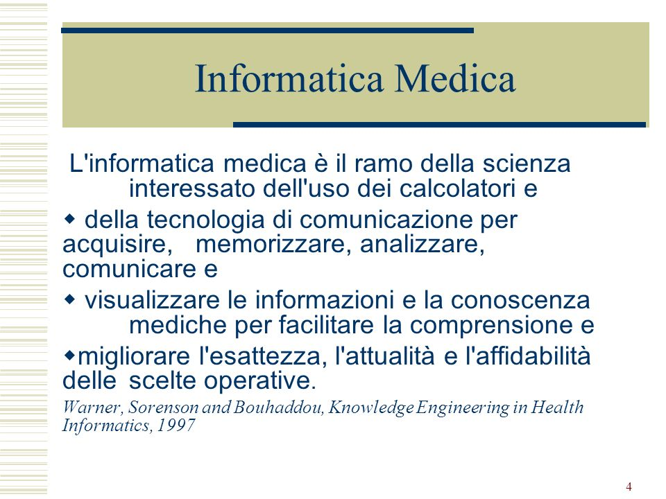 Informatica MedicaL informatica medica è il ramo della scienza interessato dell uso dei calcolatori e.