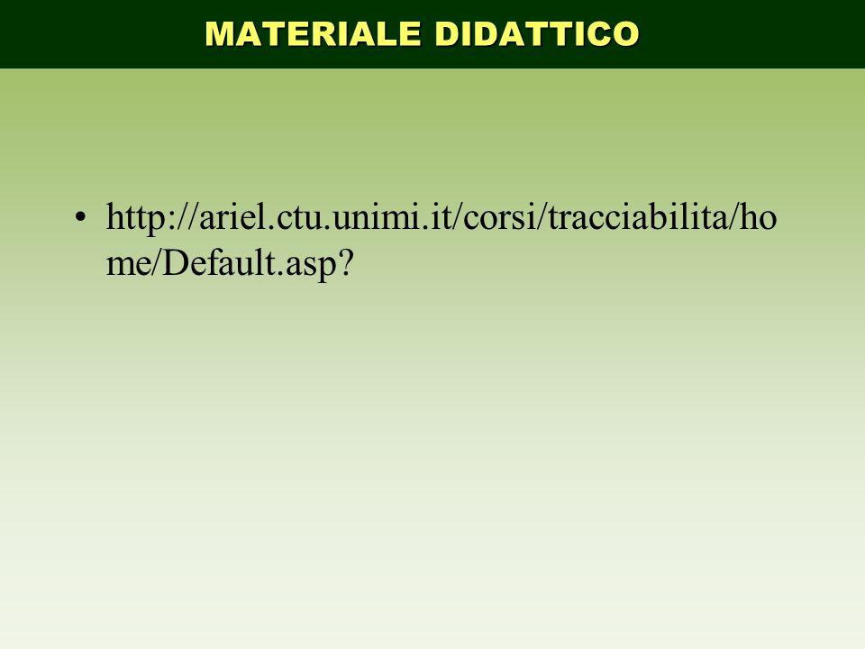 MATERIALE DIDATTICO http://ariel.ctu.unimi.it/corsi/tracciabilita/home/Default.asp
