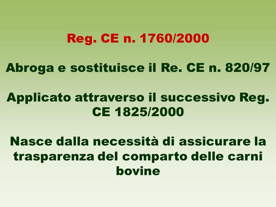 Abroga e sostituisce il Re. CE n. 820/97