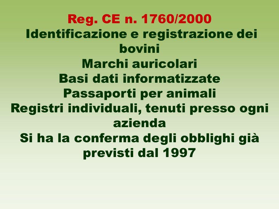 Identificazione e registrazione dei bovini Marchi auricolari