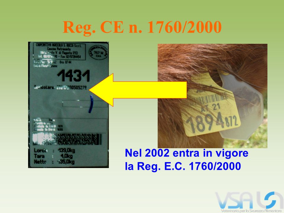 Reg. CE n. 1760/2000 Nel 2002 entra in vigore la Reg. E.C. 1760/2000