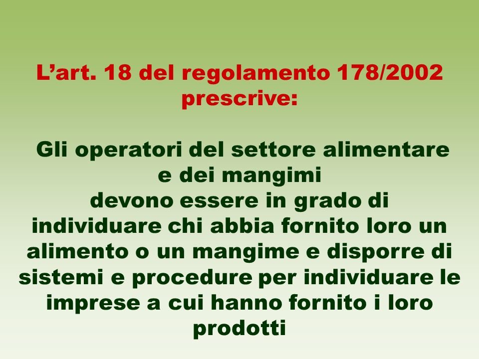 L'art. 18 del regolamento 178/2002 prescrive: