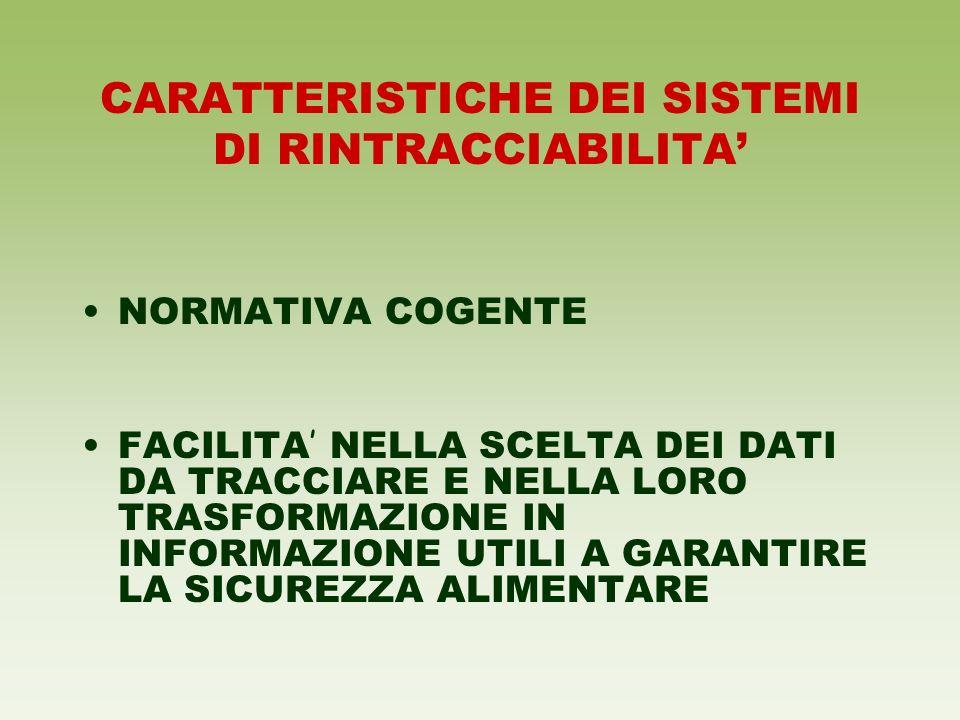 CARATTERISTICHE DEI SISTEMI DI RINTRACCIABILITA'