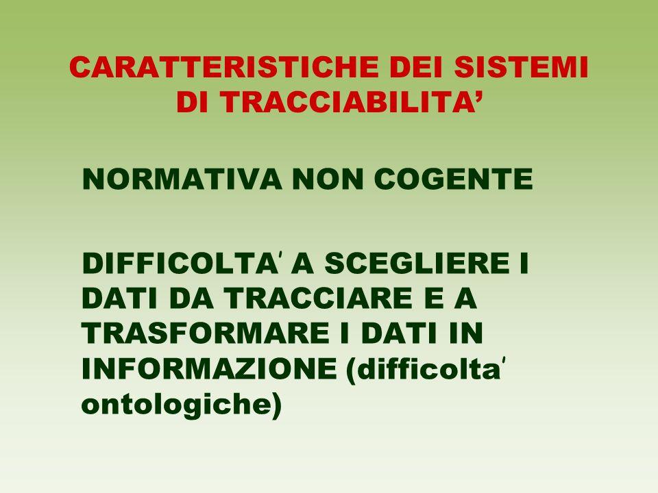 CARATTERISTICHE DEI SISTEMI DI TRACCIABILITA'