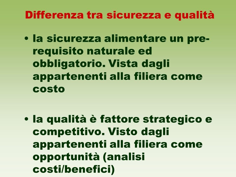 Differenza tra sicurezza e qualità