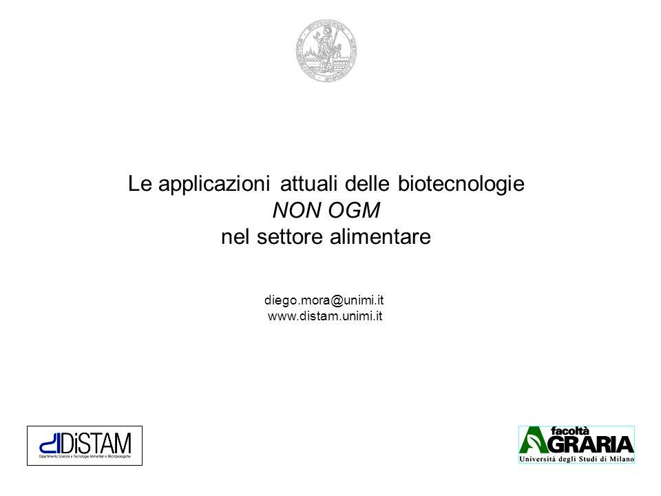 Le applicazioni attuali delle biotecnologie NON OGM