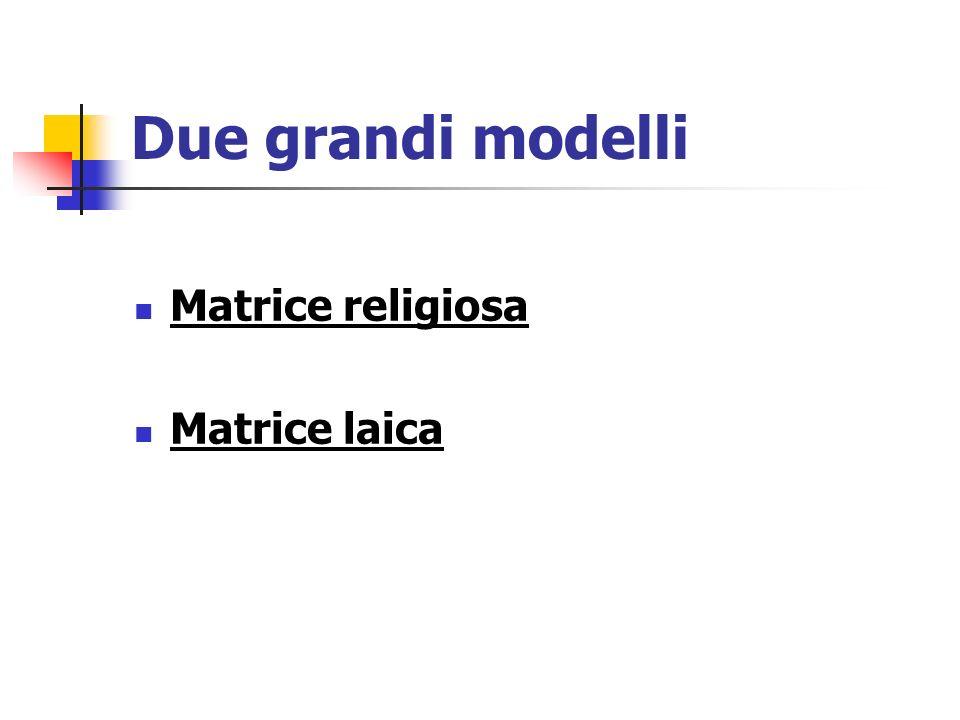 Due grandi modelli Matrice religiosa Matrice laica