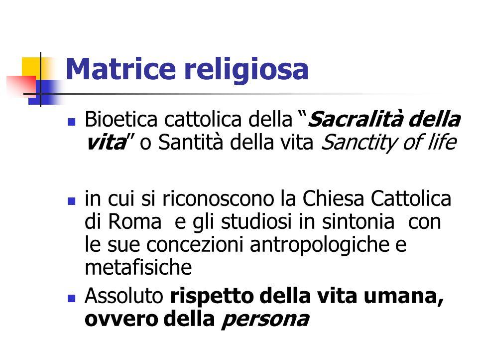 Matrice religiosa Bioetica cattolica della Sacralità della vita o Santità della vita Sanctity of life.