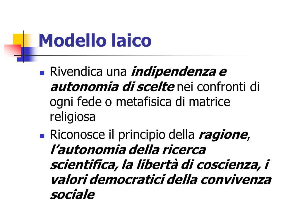 Modello laico Rivendica una indipendenza e autonomia di scelte nei confronti di ogni fede o metafisica di matrice religiosa.