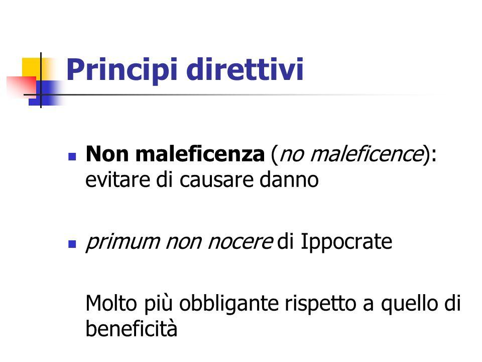 Principi direttivi Non maleficenza (no maleficence): evitare di causare danno. primum non nocere di Ippocrate.