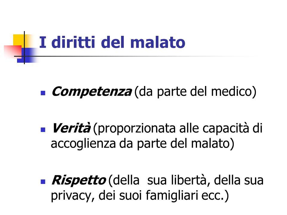 I diritti del malato Competenza (da parte del medico)