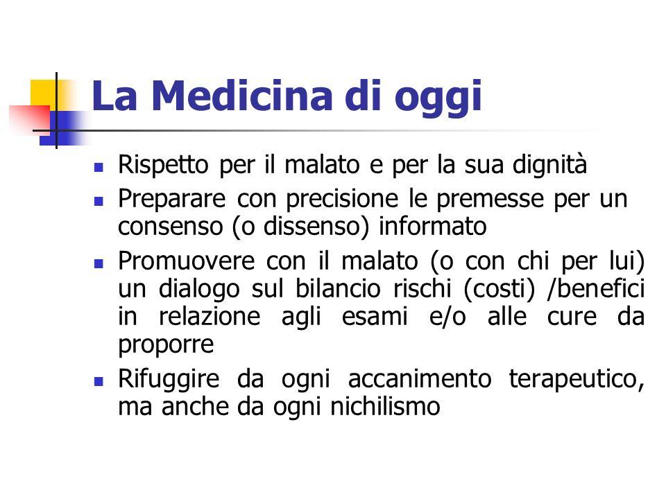 La Medicina di oggi Rispetto per il malato e per la sua dignità