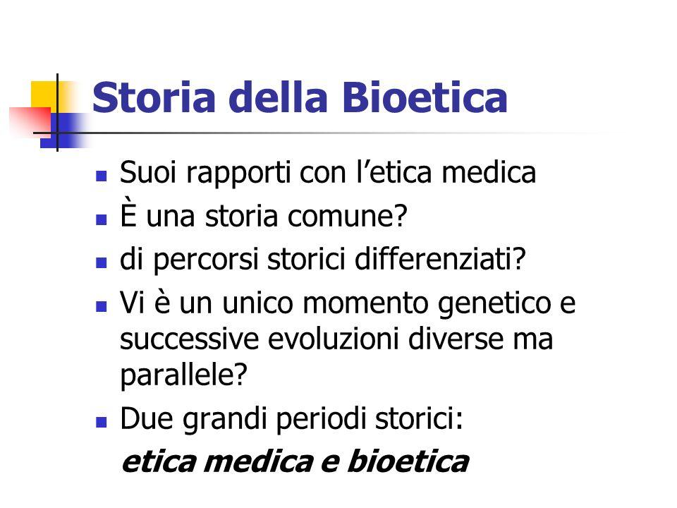 Storia della Bioetica Suoi rapporti con l'etica medica