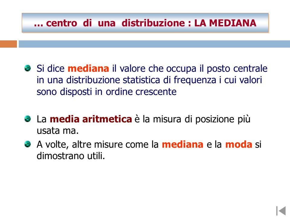 … centro di una distribuzione : LA MEDIANA