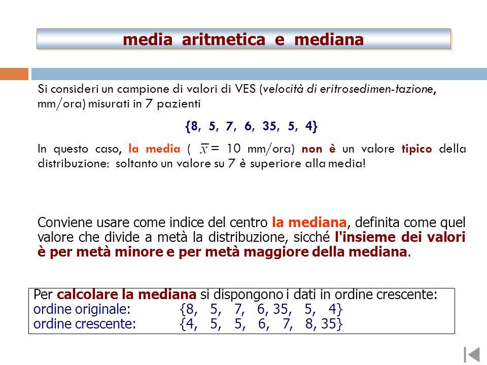 media aritmetica e mediana