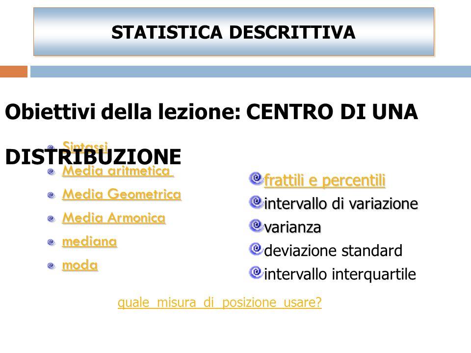 Sintassi Media aritmetica Media Geometrica Media Armonica mediana moda