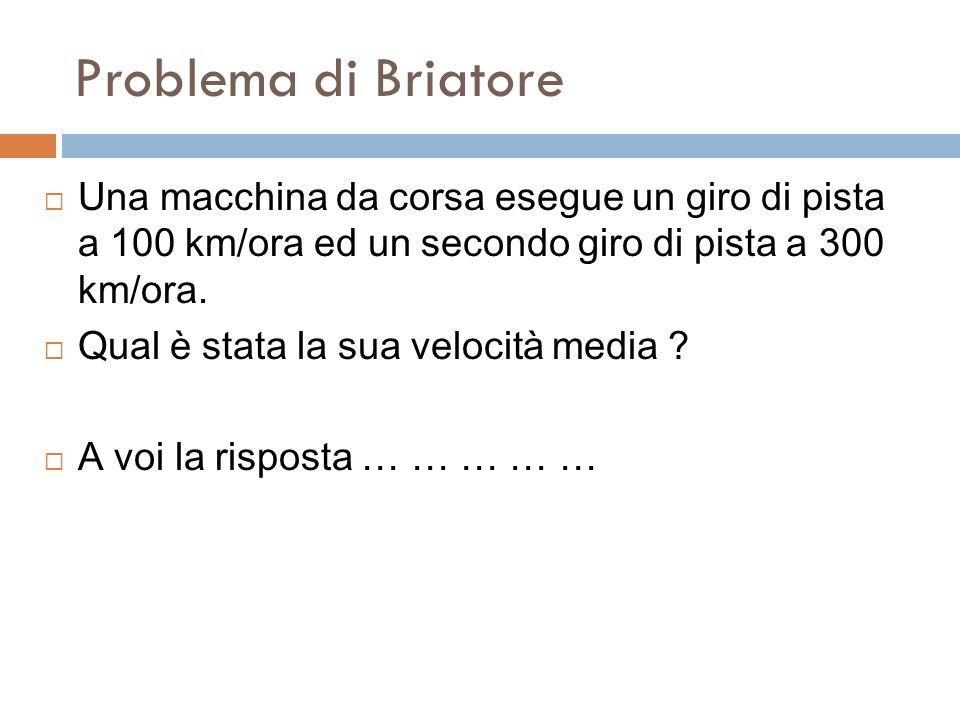 Problema di BriatoreUna macchina da corsa esegue un giro di pista a 100 km/ora ed un secondo giro di pista a 300 km/ora.