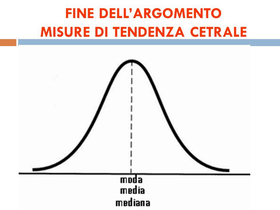 FINE DELL'ARGOMENTO MISURE DI TENDENZA CETRALE