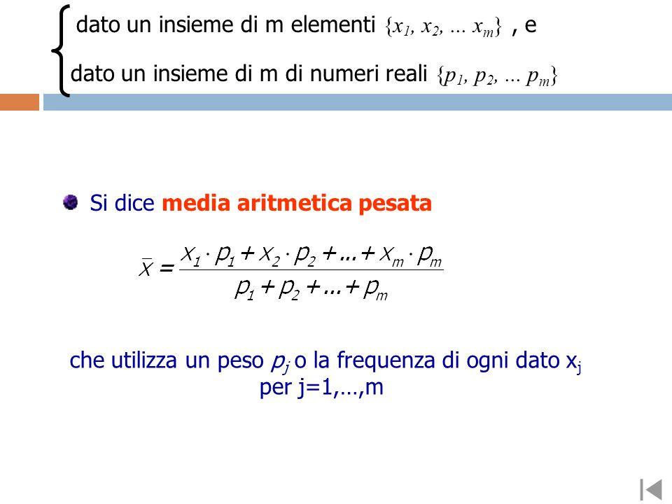 che utilizza un peso pj o la frequenza di ogni dato xj per j=1,…,m