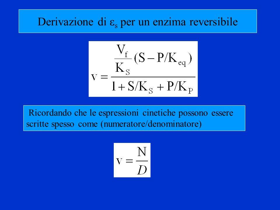 Derivazione di εs per un enzima reversibile