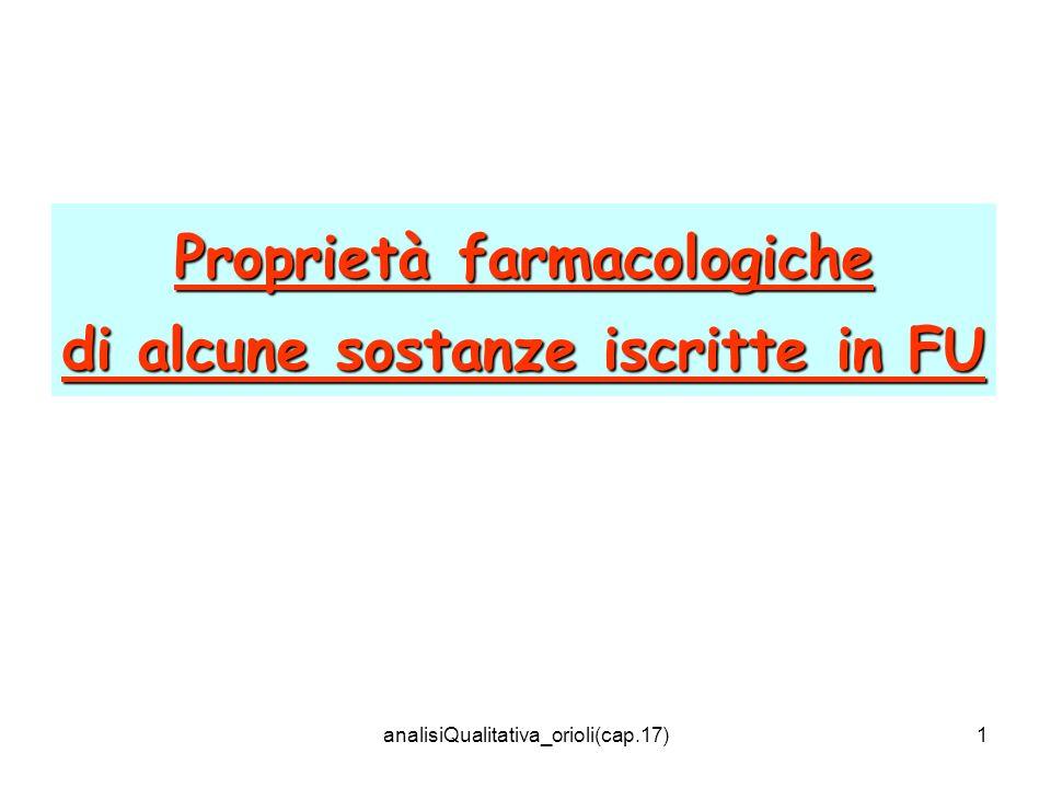 Proprietà farmacologiche di alcune sostanze iscritte in FU