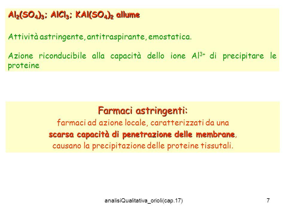 Farmaci astringenti: Al2(SO4)3; AlCl3; KAl(SO4)2 allume