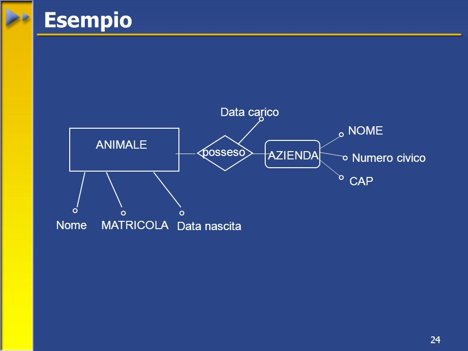 Esempio Data carico NOME ANIMALE posseso AZIENDA Numero civico CAP