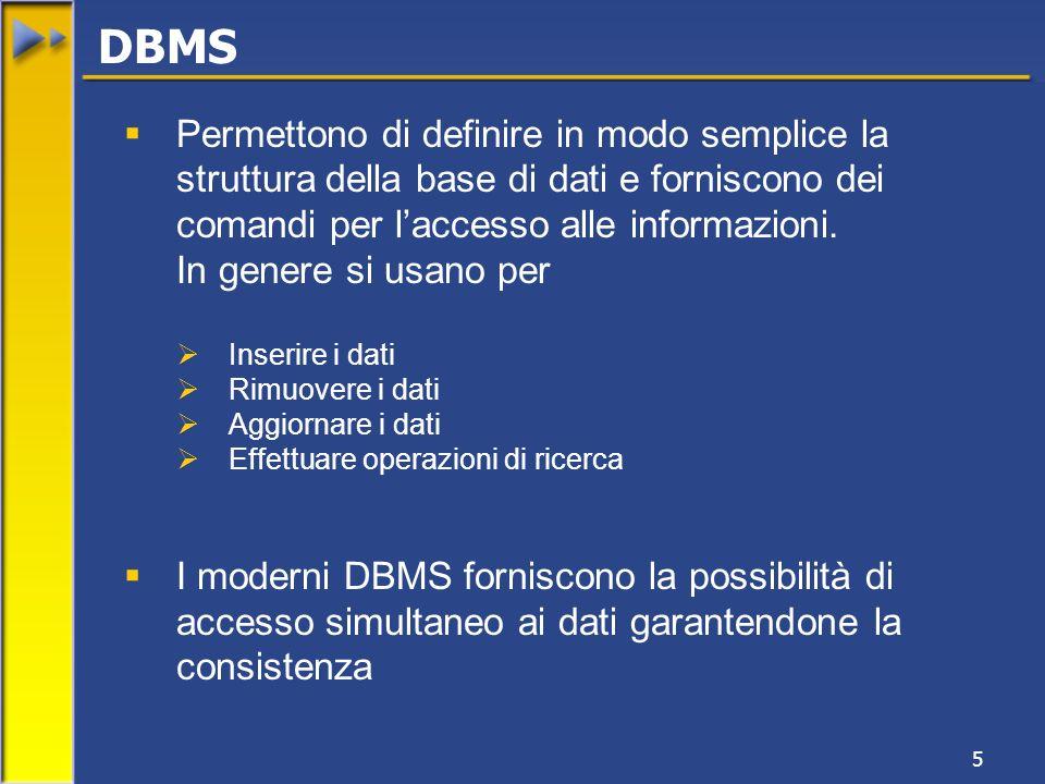 DBMS Permettono di definire in modo semplice la struttura della base di dati e forniscono dei comandi per l'accesso alle informazioni.