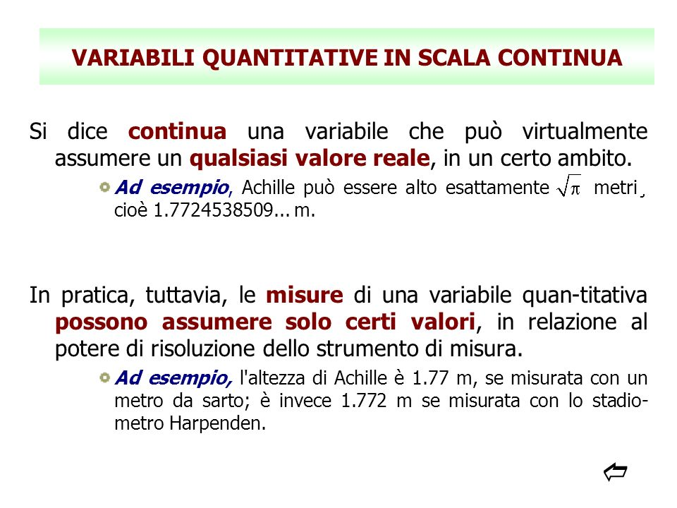 VARIABILI QUANTITATIVE IN SCALA CONTINUA