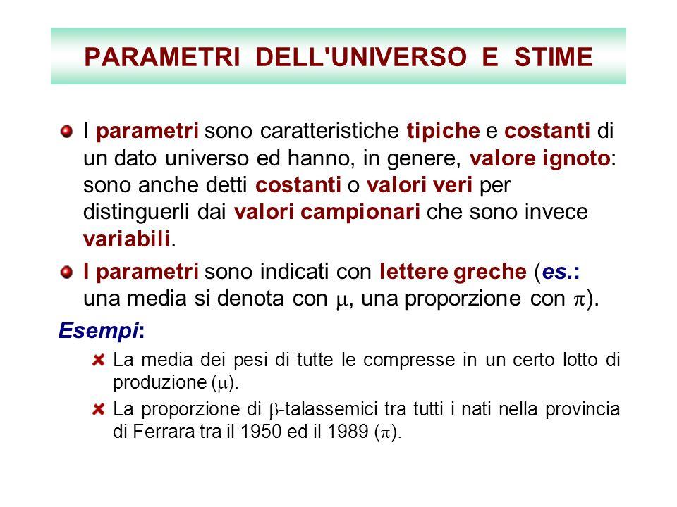 PARAMETRI DELL UNIVERSO E STIME