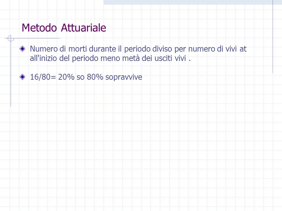 Metodo Attuariale Numero di morti durante il periodo diviso per numero di vivi at all inizio del periodo meno metà dei usciti vivi .