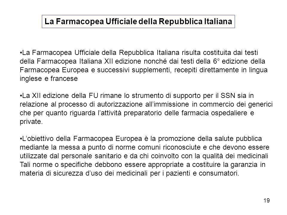 La Farmacopea Ufficiale della Repubblica Italiana