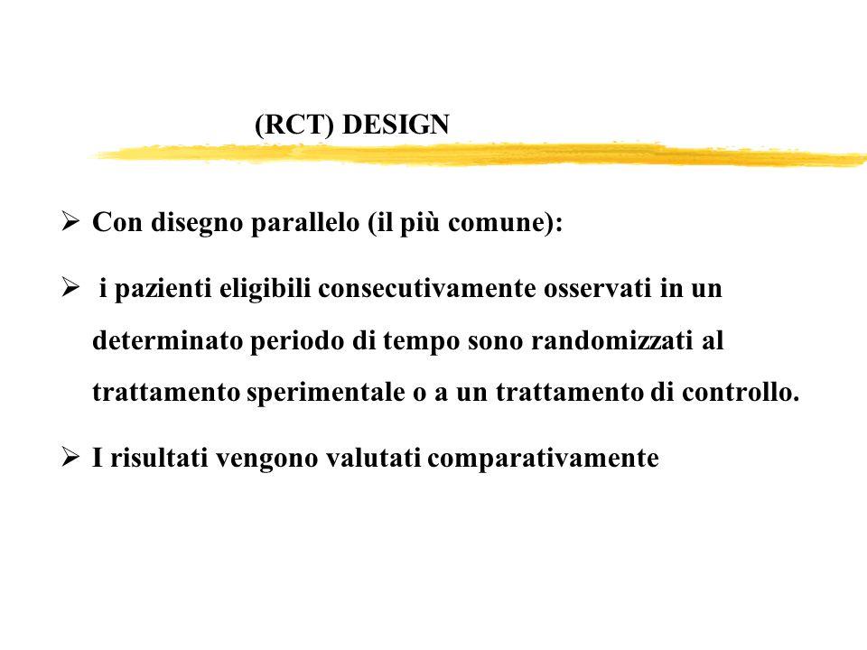 (RCT) DESIGN Con disegno parallelo (il più comune):