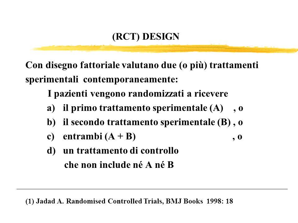 Con disegno fattoriale valutano due (o più) trattamenti