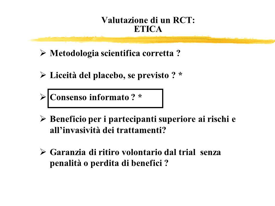Valutazione di un RCT: ETICA